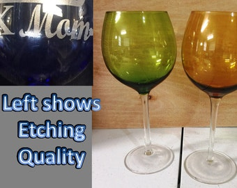 Custom Etched Red Wine Goblets