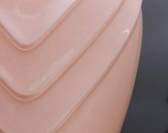Large Pale Peachy Pink Art Deco Style Glass Vase 80s
