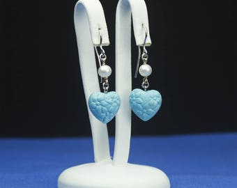 Turquoise heart engraved with Pearl
