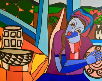Lenca | Acryl on Canvas Painting | by Evy Pineda
