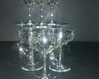 Vintage etched champagne glasses.  Set of 11.