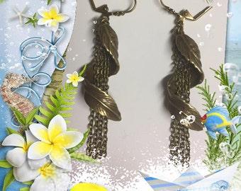 Twisted Brass Leaf Earrings