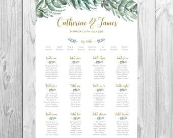 Personalised Wedding Table Plan {Greenery} - DIGITAL DOWNLOAD