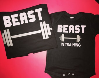 Beast & beast in training dad shirt and baby onesie dad and baby matching shirts