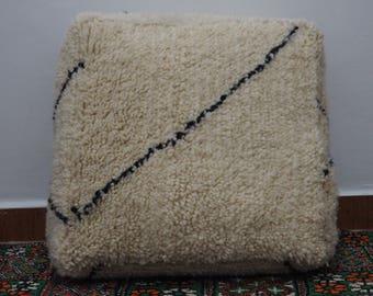 Floor pillow Beni Ourain handmade || Moroccan Beni Ourain pouf