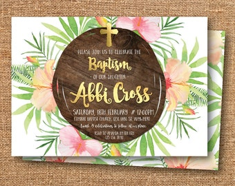 Tropical baptism invitation, baptism invitation, tropical christening invitation, christening invitation, dedication, ceremony (Abbi)