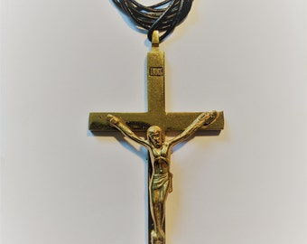 Antique Type Brass Cross with Corpus/Leather Cord.