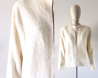 vintage 1950s sweater  •  cream wool  •  sequins・FREE SHIPPING