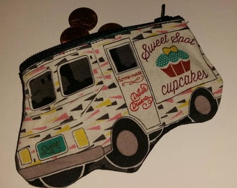Food Truck Novelty Coin Purse, Novelty Coin Purse, Cupcake Truck Coin Purse