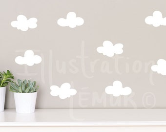 Wall decals clouds 4 inch REPOSITIONABLE shapes, quality vinyl, choice of colors + removable wall sticker
