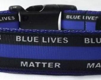 Blue Lives Matter Dog Collar -  Police Dog Collar FREE Shipping