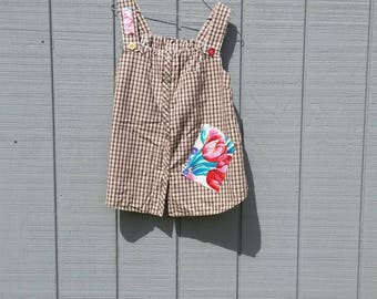 Upcycled materials, tank top, Size S/M , repurposed clothing, pinafore, plaid,country, casual, patches, with buttons by Sherry Jones Designs