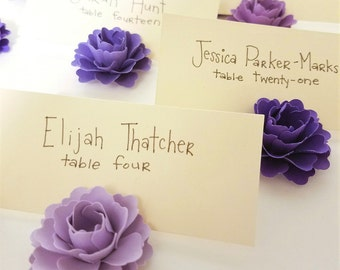 Place Card Holders | Purple Paper Flowers (set of 30)