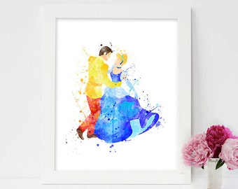 Cinderella and Prince Charming, cinderella and prince watercolor, impression disney cinderella, cinderella castle, wall art cinderella,