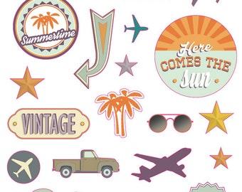 Board of 34 stickers Vintage - Vintage - Vintage Puffies decals - 11004617