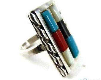 Beautiful ZUNI silver GUS & LORIE Panteah ring multi stone M17, 5
