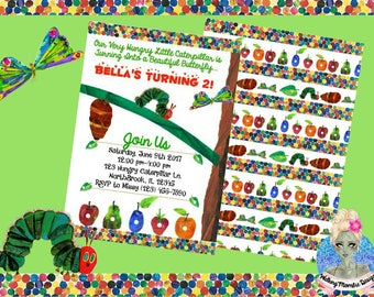 The Very Hungry Caterpillar Invitation, The Very Hungry Caterpillar Party, The Very Hungry Caterpillar Birthday, Very Hungry Caterpillar