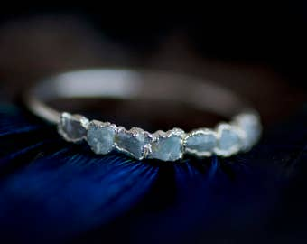 Larimar Ring. Larimar Band. Larimar Band Ring. Larimar Wedding Band Ring. Raw Larimar Ring