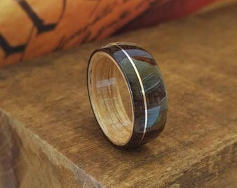 East Indian Rosewood Ring with offset Copper Inlay