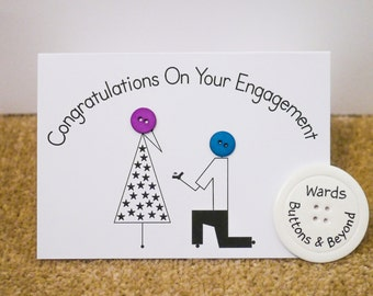 Engagement Button People Greetings Card