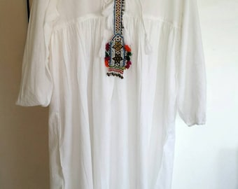 White long dress all Indian cotton voile with tassel
