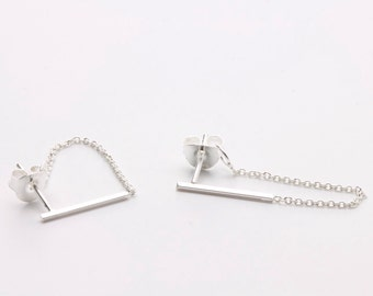 Sterling Silver Bar Chain Studs / Minimal Bar Chain Studs / Chain Studs / Minimal Studs / WS62