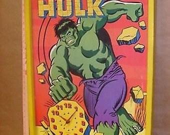 Vintage Incredible Hulk Advertisment  Clock LARGE 1970's Picture Clock