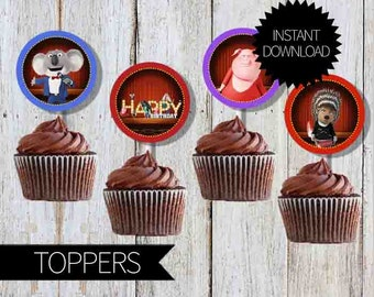 SING Birthday Party PRINTABLE Cupcake Toppers- Instant Download | Sing Movie| 2 inches Circles