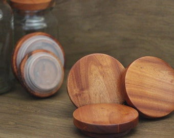 Wood annerversary, Set of 3 Timber Lids for Moccona Jars