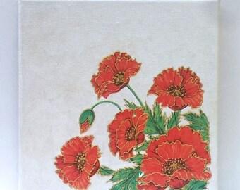 Poppy  art decoupage, Decoupaged canvas art, Wall art poppy, Wall art canvas, Art canvas poppy,Poppies art canvas, Gift poppies art, Poppies