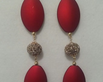 Red Long Earrings