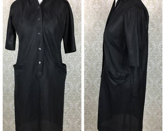 Vintage 60s Womens Black Shift Elbow Sleeve Shirt Dress Barco from California