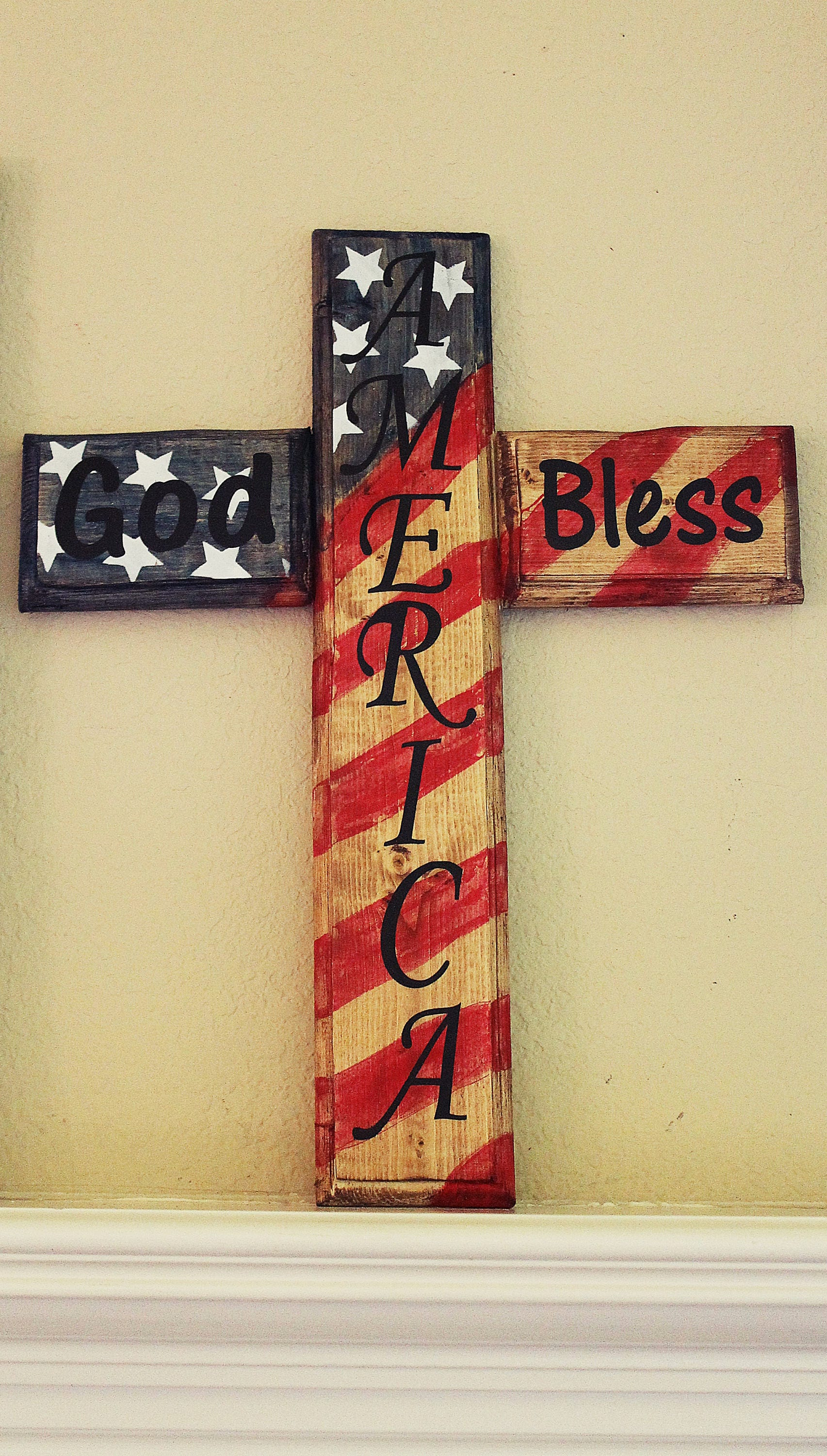 Solid Wood Routed Edged American Flag Stained Cross GOD BLESS ...