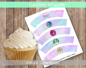 Shimmer and Shine Cupcake Wrappers Shimmer and Shine Digital 5 Designs Cupcake Wrappers Birthday Party Decoration INSTANT DOWNLOAD