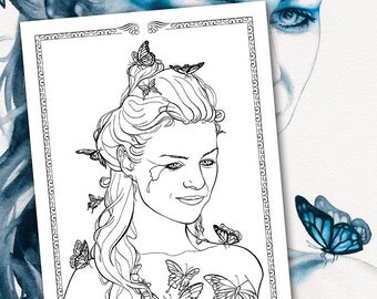 Butterfly Coloring Page Fantasy Pages Totem Animals Butterflies Portrait