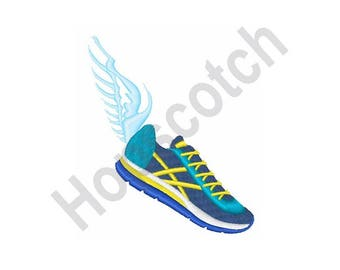 Winged Running Shoe - Machine Embroidery Design