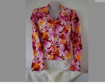 Agnes B Paris ladies bold colorful floral print cotton blouse