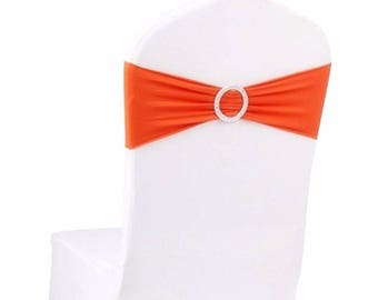 Orange Elasticity Stretch Chair cover Band with Buckle Slider Sashes Bow Decor