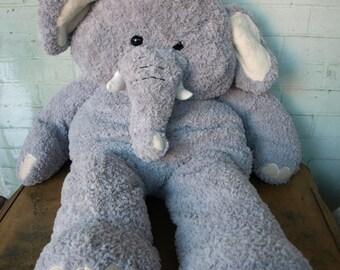 Large Jumbo Stuffed Plush Gray Elephant - high quality and well made
