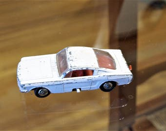Vintage Matchbox, Lensey #8 White Ford Mustang , Red Interior and Adjustable Wheels