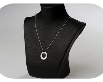 Unisex necklace silver hammered circle law
