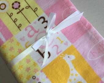 "100% Cotton Flannel Swaddle Receiving Blanket.  Extra Large - 40""x 40"".   - Little Cutie Blocks"