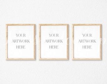8x10 DIGITAL Set of 3 Natural Wood Frame Mockup (Portrait) - Stock Photo, Styled Photography, Mock up, prints, INSTANT DOWNLOAD
