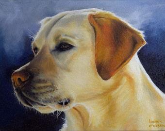 "Original Oil Painting, Dog, Labrador, 16""x 12"" inch, 40x30cm"