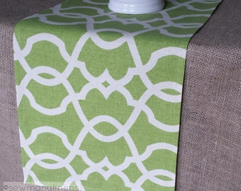 Lime Leaf Green Table Runner Quatrefoil Lattice Moroccan Home Decor Table Centerpiece Decoration Dining Room Table Top