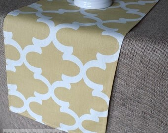 Yellow Table Runner Quatrefoil Moroccan Trellis Home Decor Table Centerpiece Linens Dining Room Kitchen Table