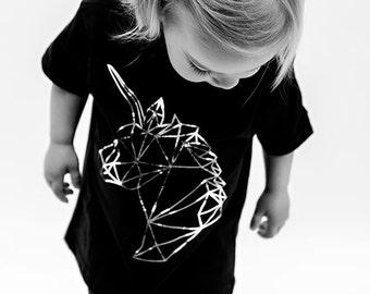 Unicorn geometric toddler t-shirt in black