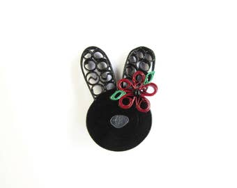 Easter Bunny Brooch, Rabbit Brooch, Black Rabbit, Pinup Jewellery, Pinup Brooches, Quilled Jewellery, Quilled Brooches, Rockabilly Brooches