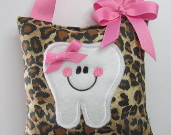 Tooth Fairy Pillow, Leopard print, Ready to Ship