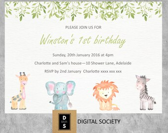 digital, birthday, invitation, printable, childrens, boys, girls, first, animal, lion, elephant, party, birthday,